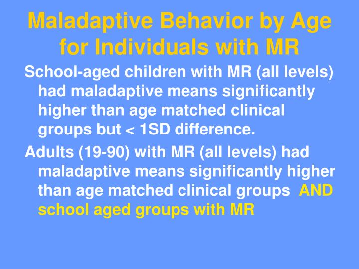 Maladaptive Behavior by Age for Individuals with MR