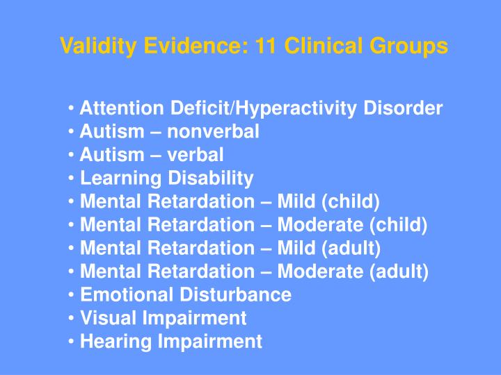 Validity Evidence: 11 Clinical Groups