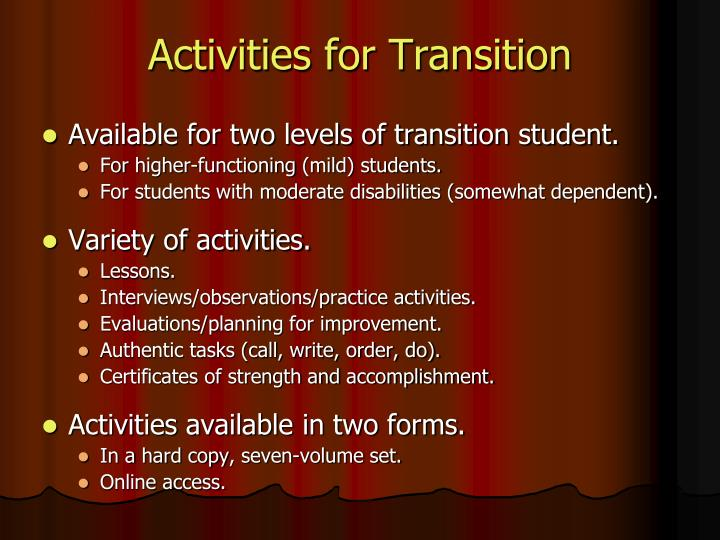 Activities for Transition