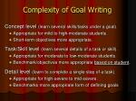 complexity of goal writing