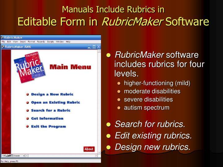 Manuals Include Rubrics in