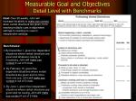 measurable goal and objectives detail level with benchmarks