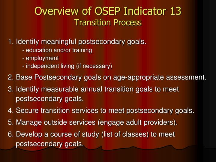 Overview of OSEP Indicator 13