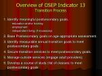 overview of osep indicator 13 transition process