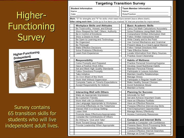 Higher-Functioning Survey