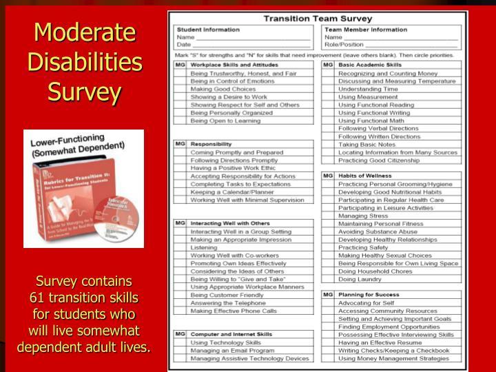 Moderate Disabilities Survey