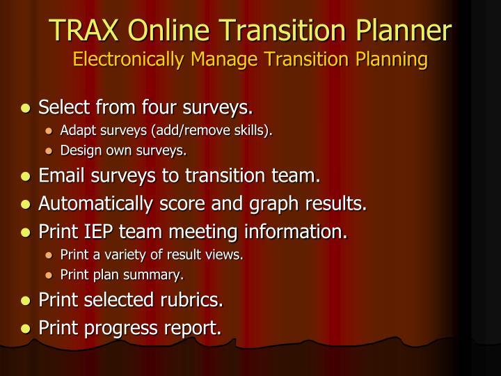 TRAX Online Transition Planner