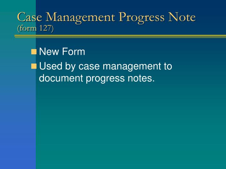 Case Management Progress Note