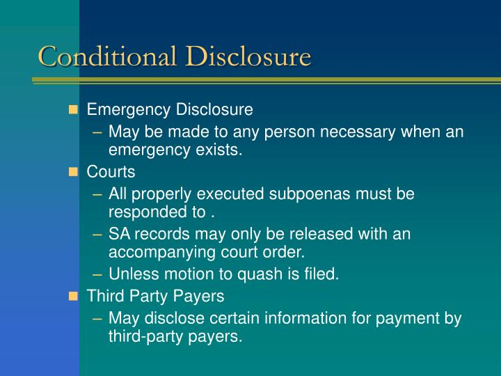Conditional Disclosure