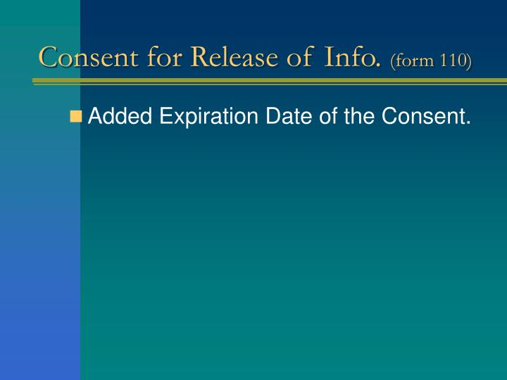 Consent for Release of Info.