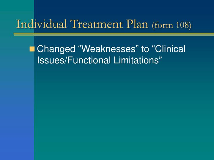 Individual Treatment Plan