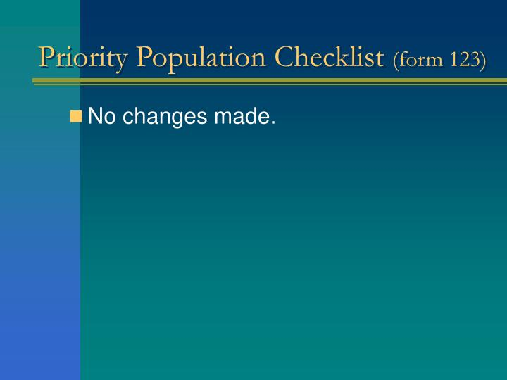 Priority Population Checklist