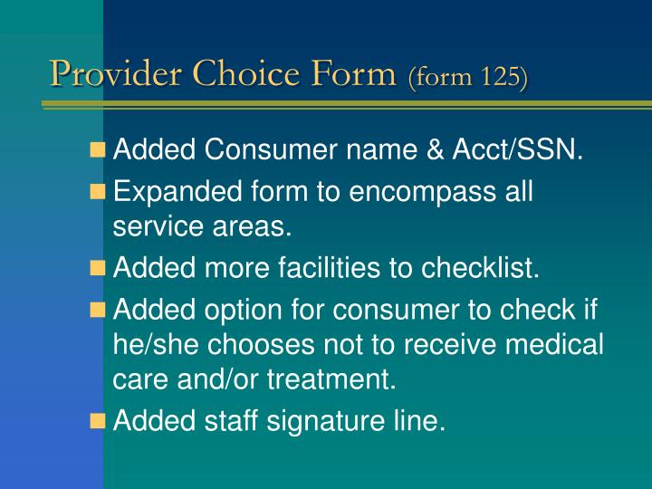Provider Choice Form