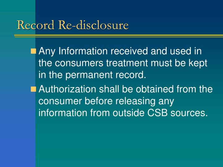 Record Re-disclosure