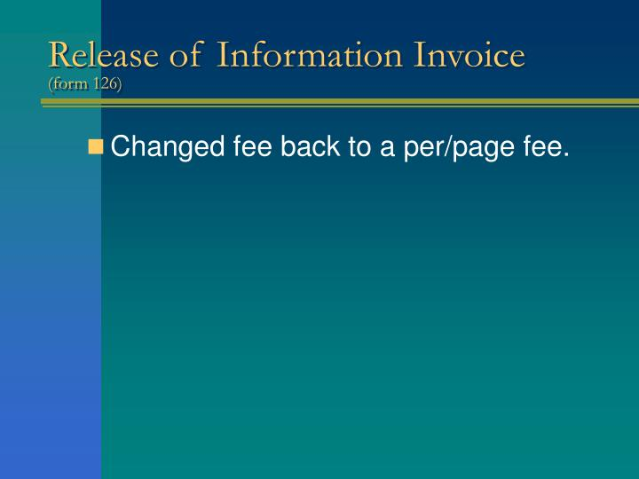 Release of Information Invoice