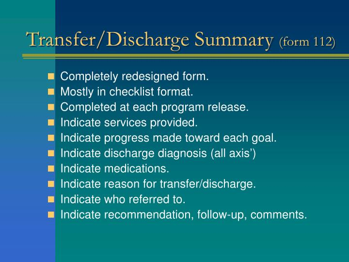 Transfer/Discharge Summary