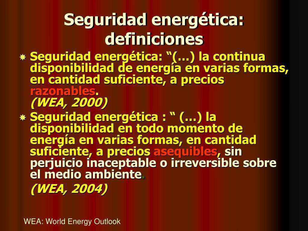 Seguridad energética: definiciones