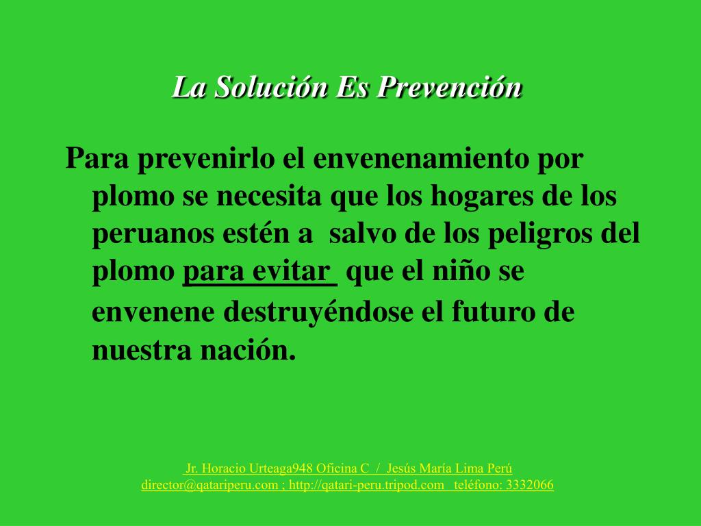 La Solución Es Prevención