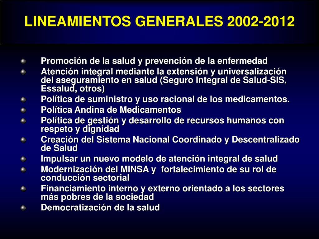 LINEAMIENTOS GENERALES 2002-2012