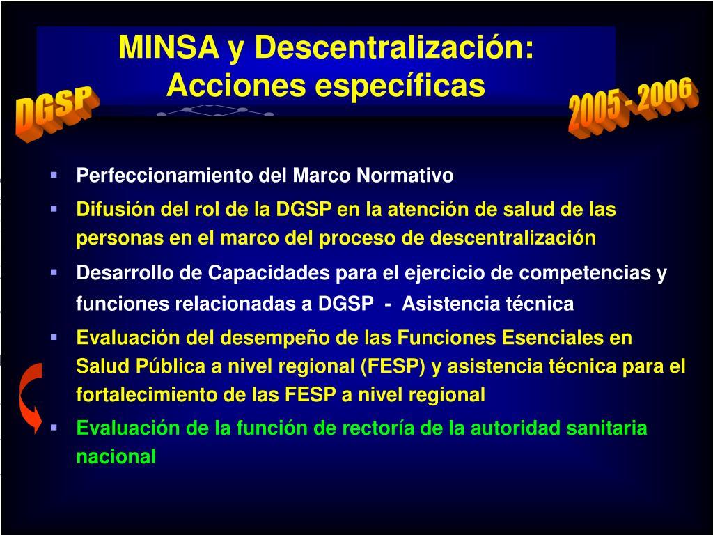 MINSA y Descentralización: