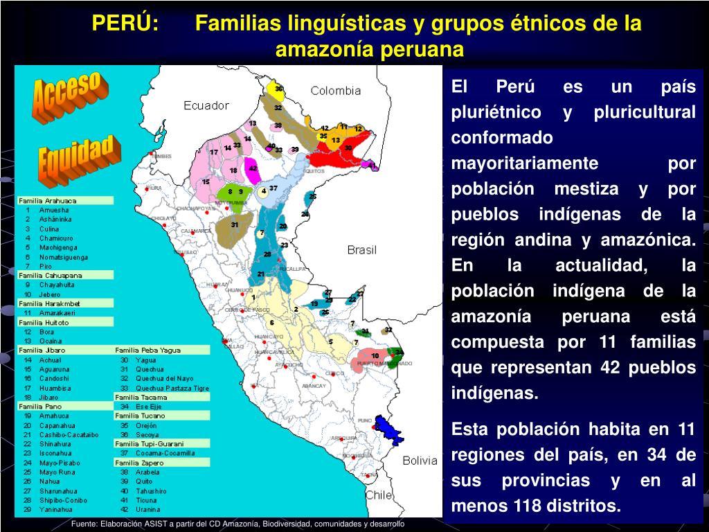 PERÚ:      Familias linguísticas y grupos étnicos de la