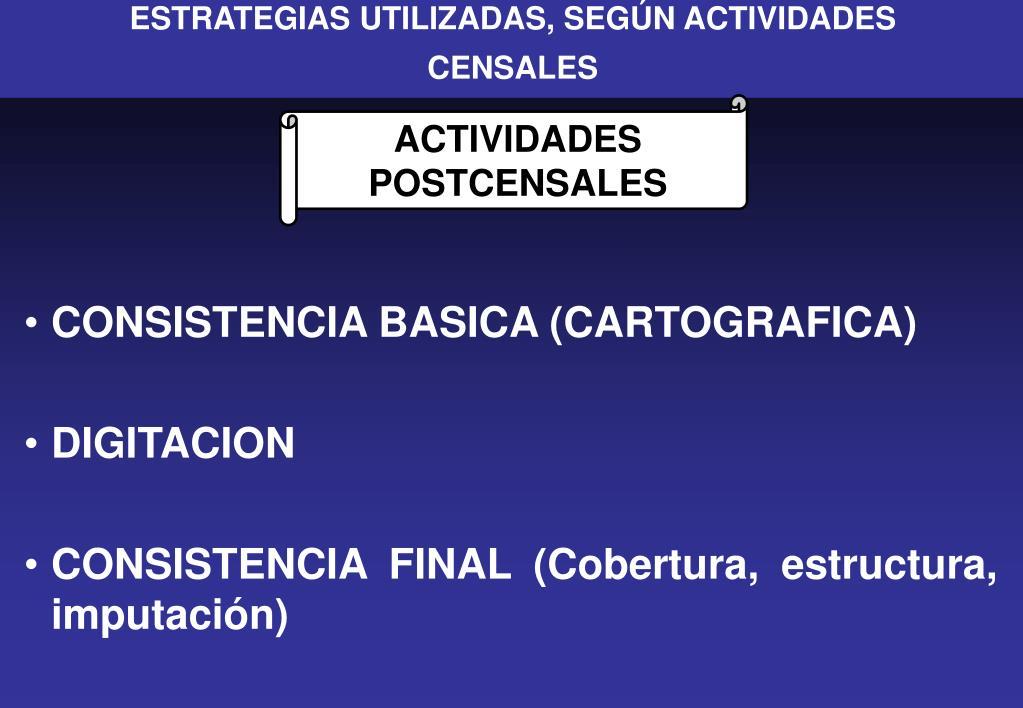 ESTRATEGIAS UTILIZADAS, SEGÚN ACTIVIDADES
