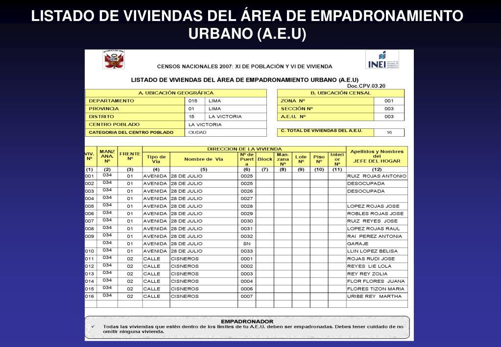 LISTADO DE VIVIENDAS DEL ÁREA DE EMPADRONAMIENTO URBANO (A.E.U)