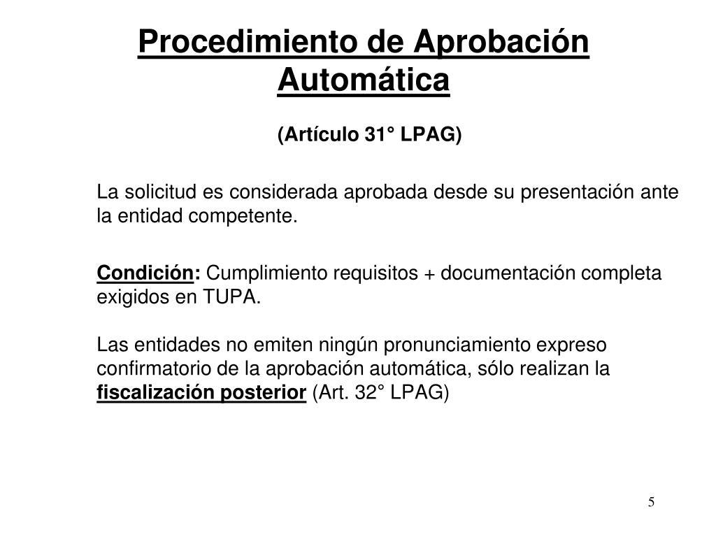 Procedimiento de Aprobación Automática
