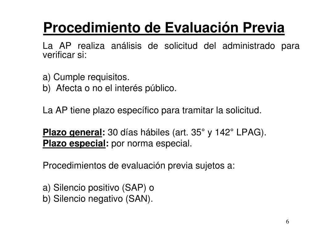 Procedimiento de Evaluación Previa