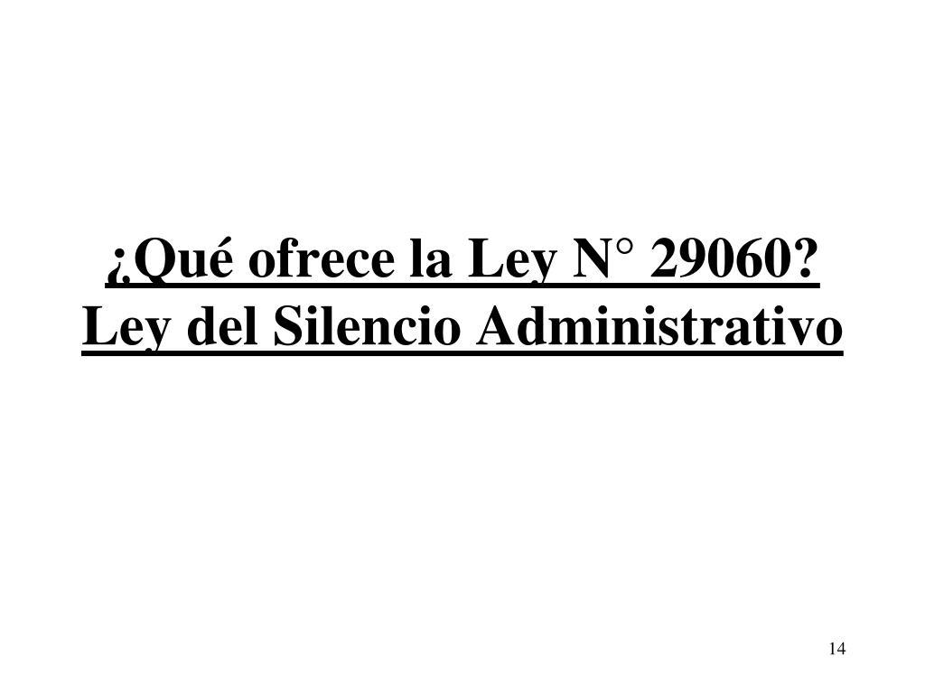 ¿Qué ofrece la Ley N° 29060?