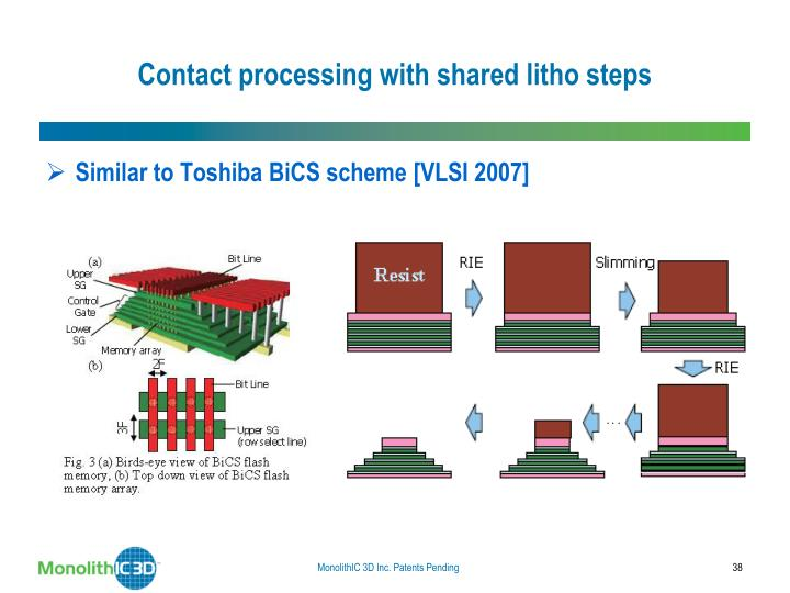Contact processing with shared litho steps