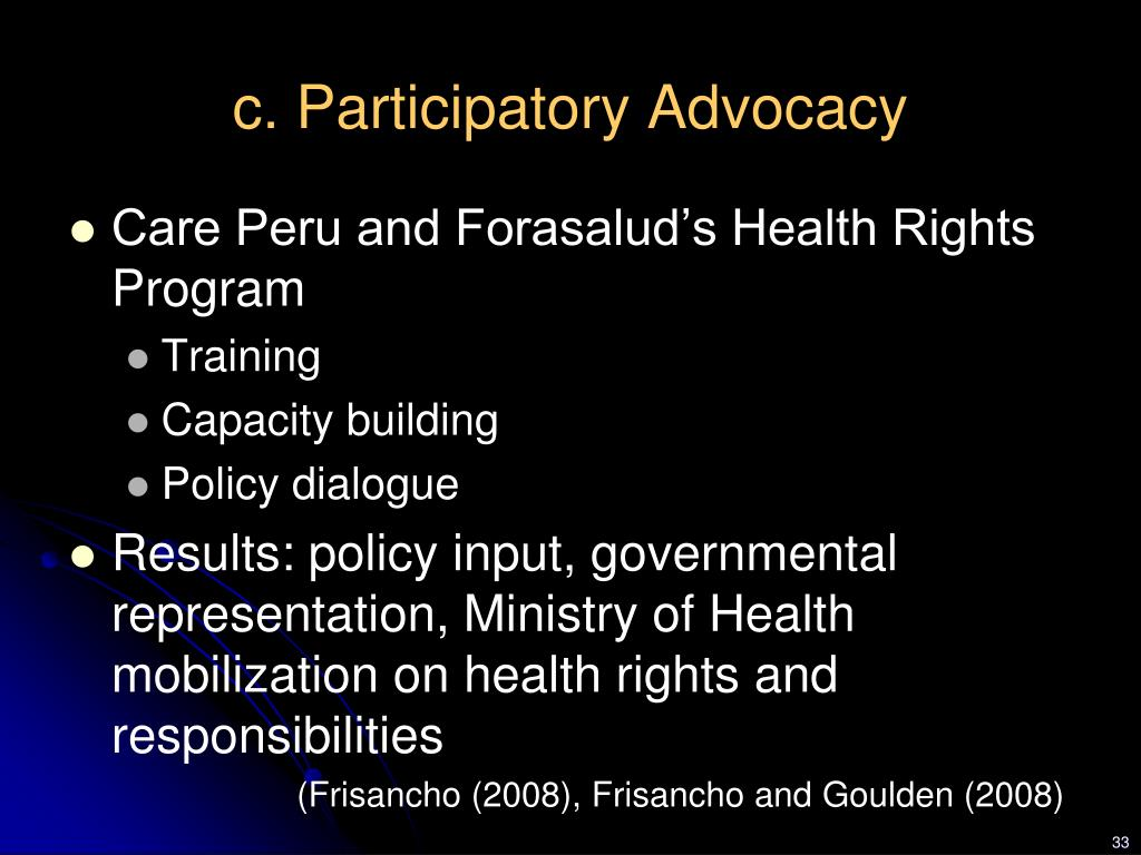 c. Participatory Advocacy