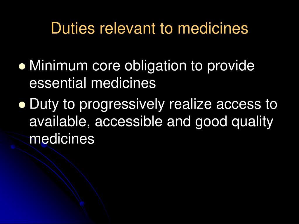 Duties relevant to medicines