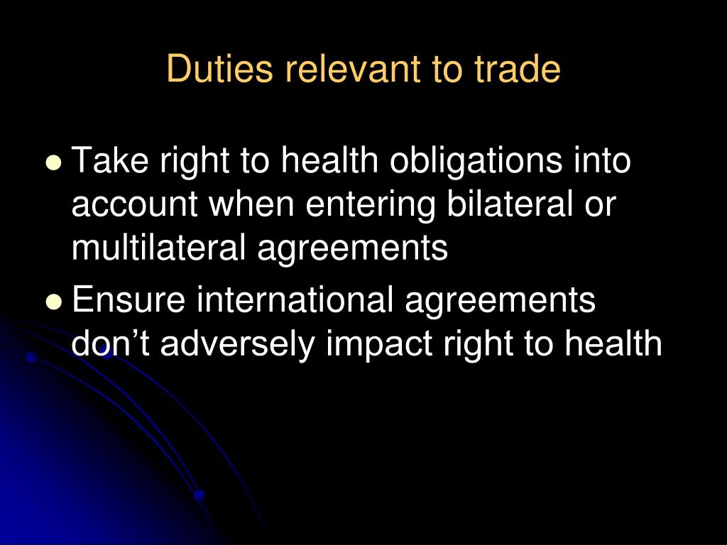 Duties relevant to trade