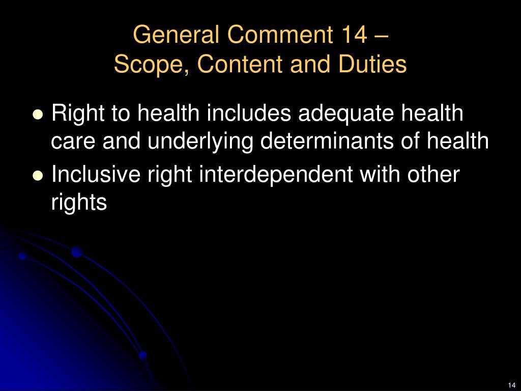 General Comment 14 –