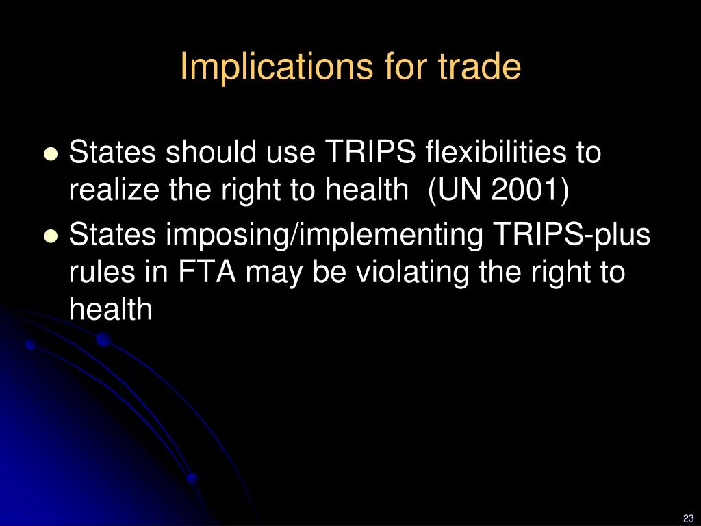 Implications for trade