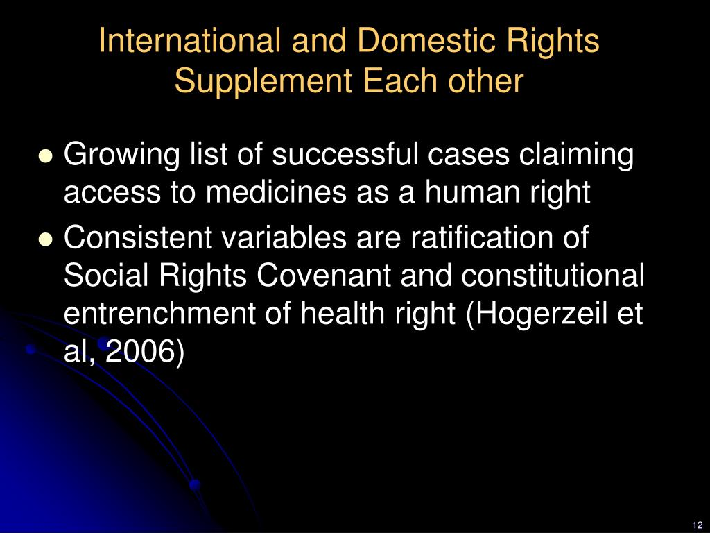 International and Domestic Rights Supplement Each other