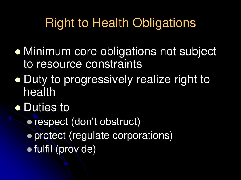 Right to Health Obligations