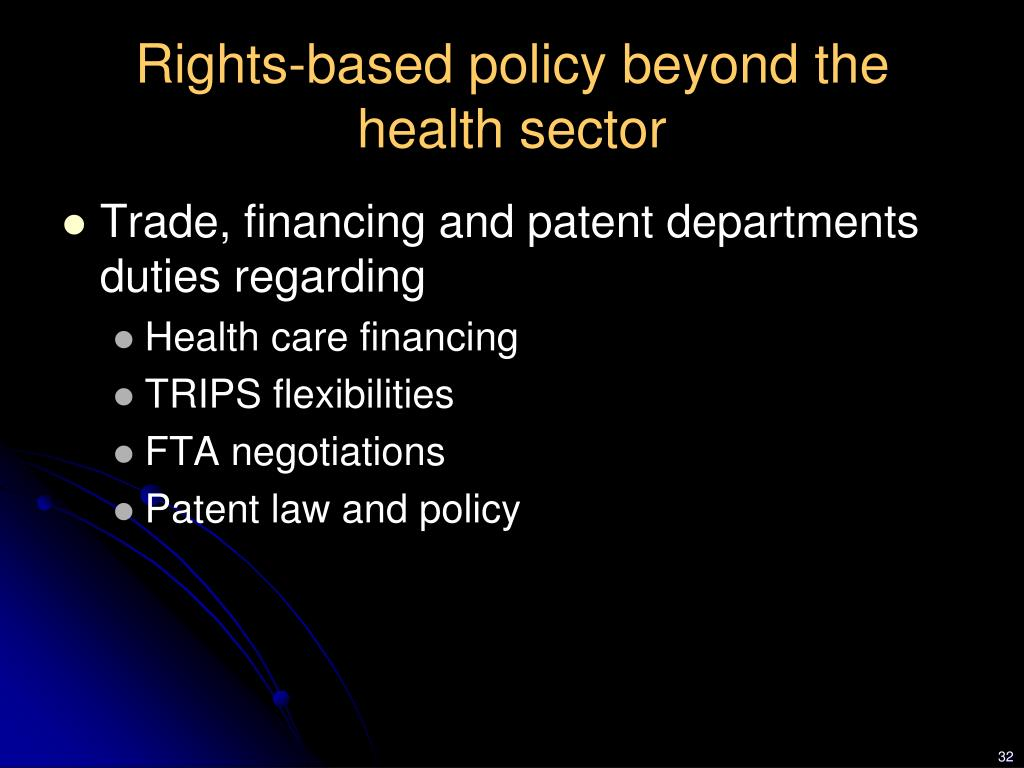 Rights-based policy beyond the health sector