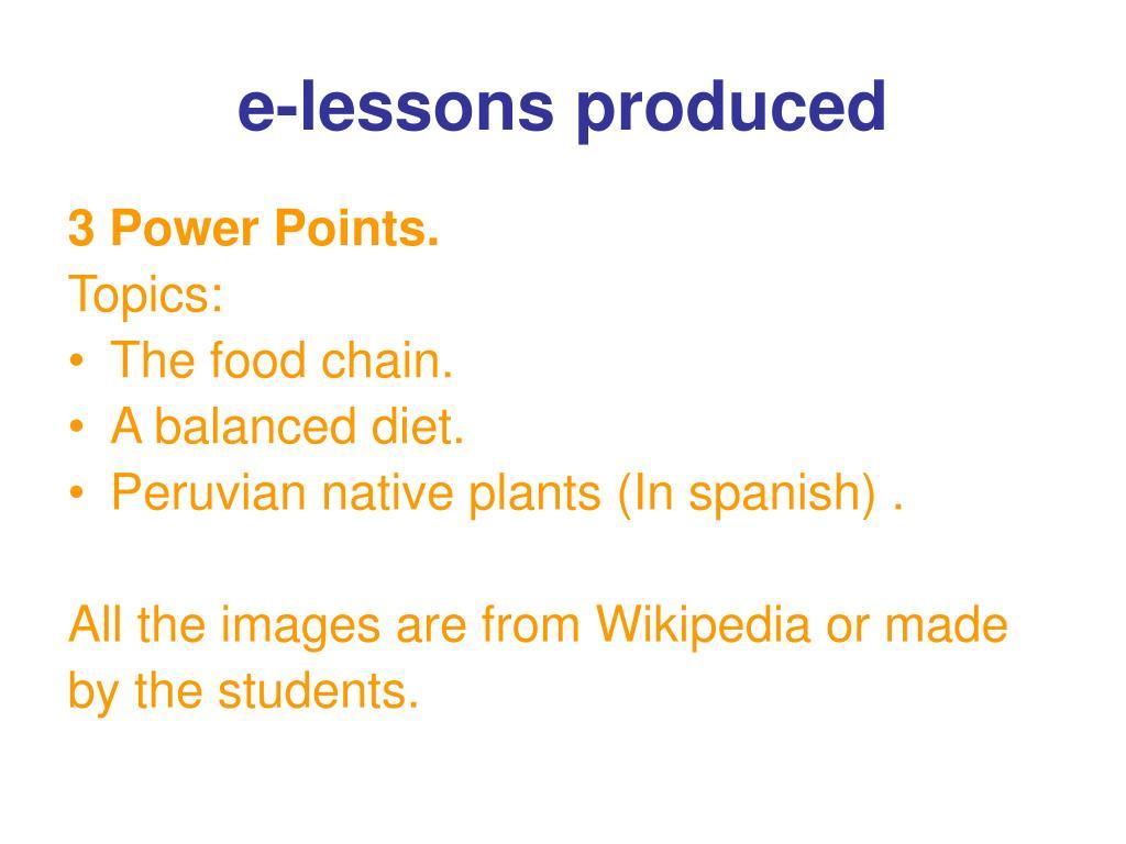 e-lessons produced