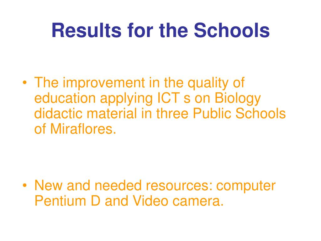 Results for the Schools