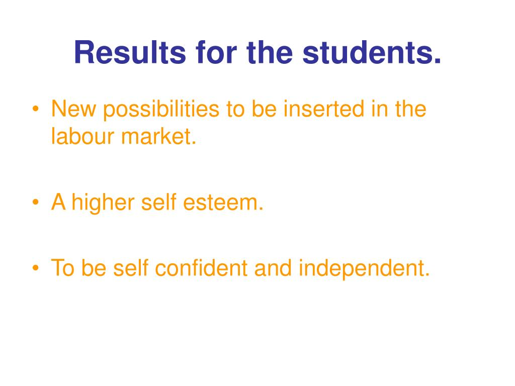 Results for the students.