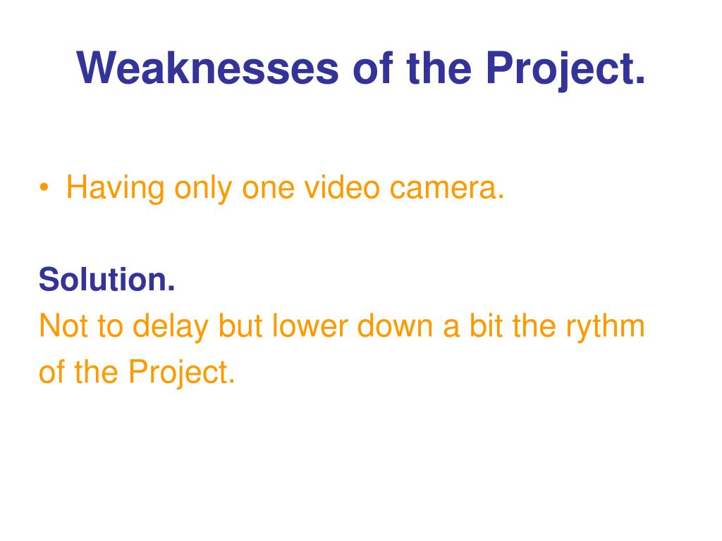 Weaknesses of the Project.