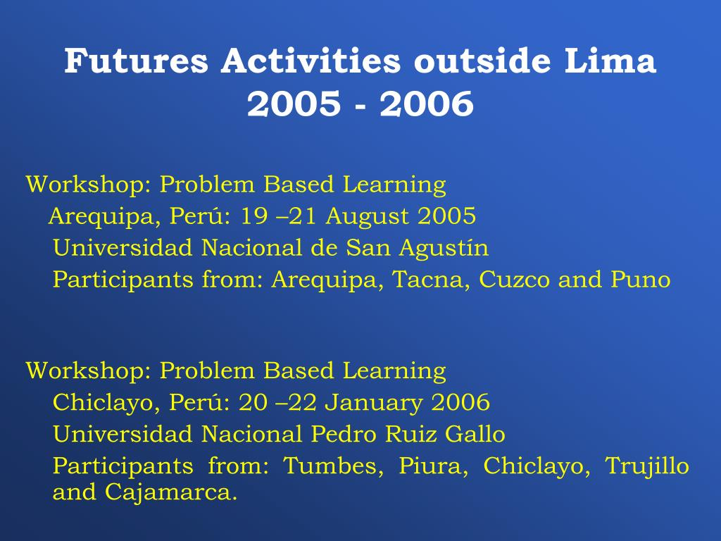 Futures Activities outside Lima