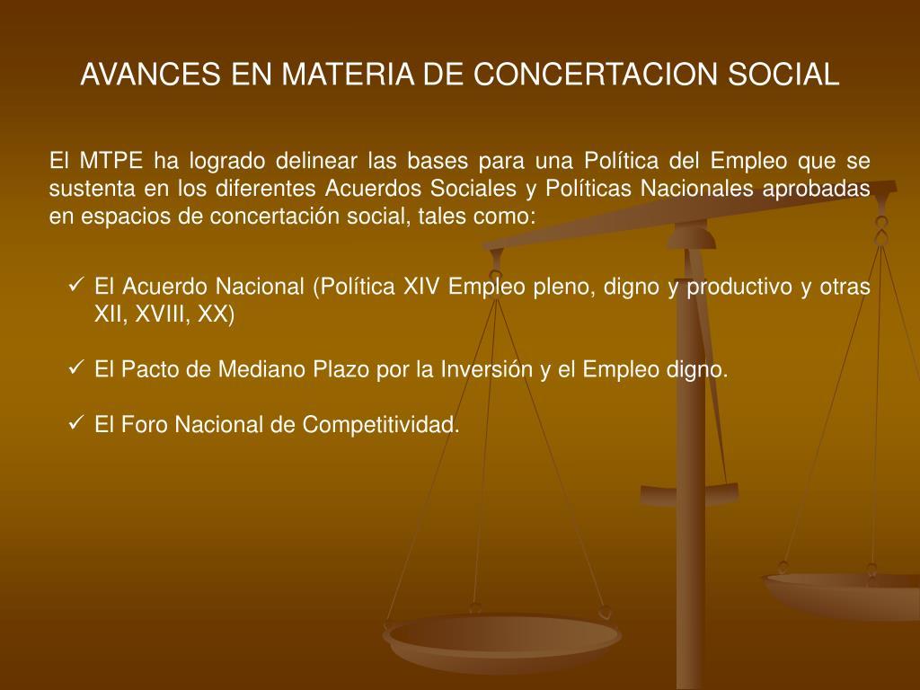 AVANCES EN MATERIA DE CONCERTACION SOCIAL
