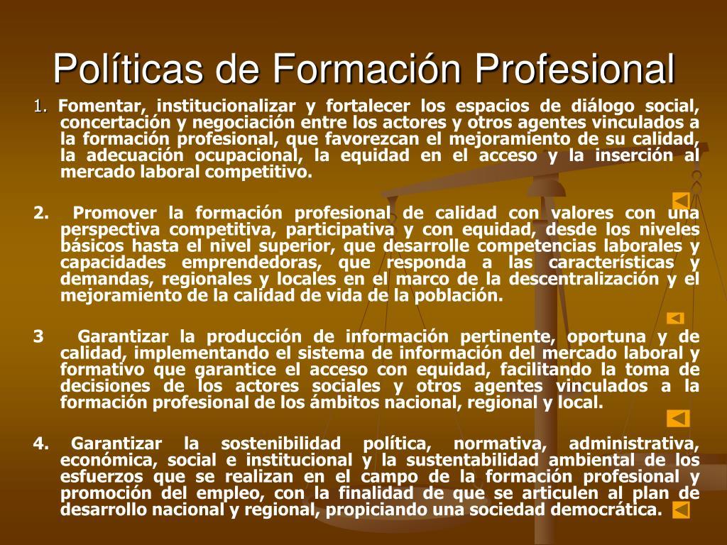 Políticas de Formación Profesional