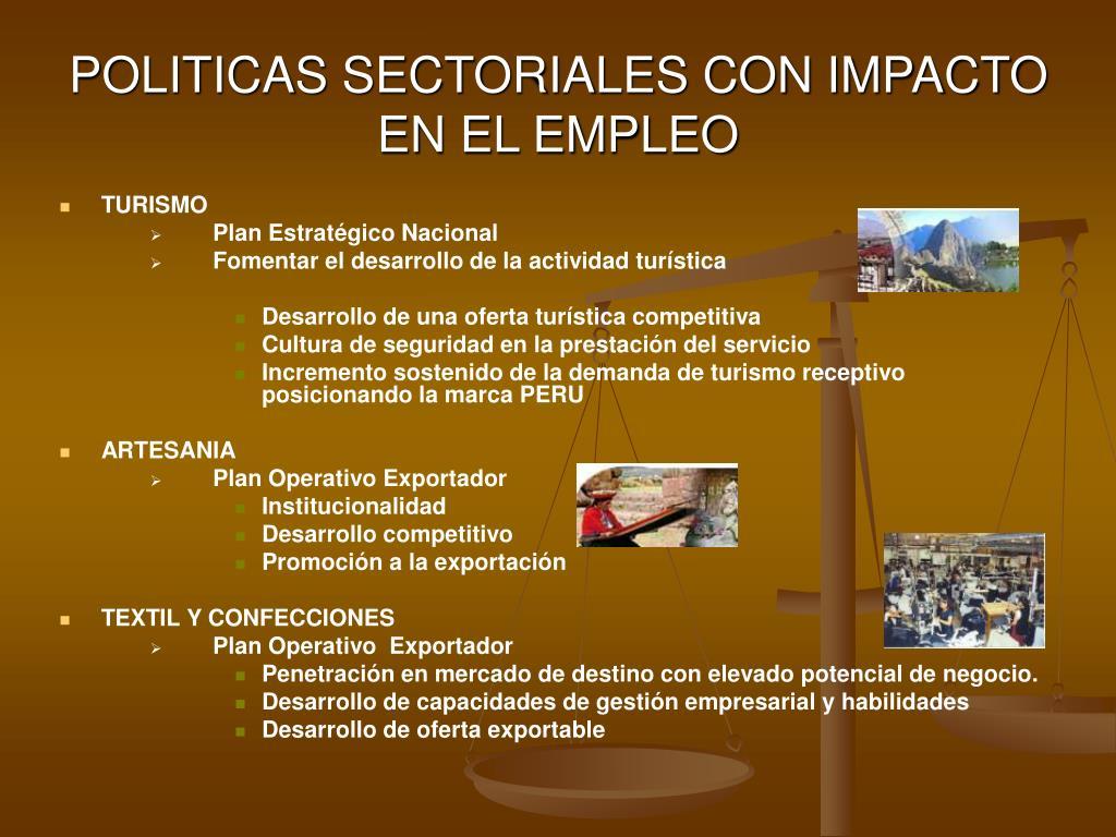 POLITICAS SECTORIALES CON IMPACTO EN EL EMPLEO
