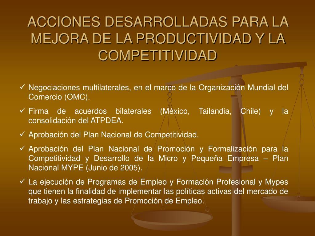 ACCIONES DESARROLLADAS PARA LA MEJORA DE LA PRODUCTIVIDAD Y LA COMPETITIVIDAD