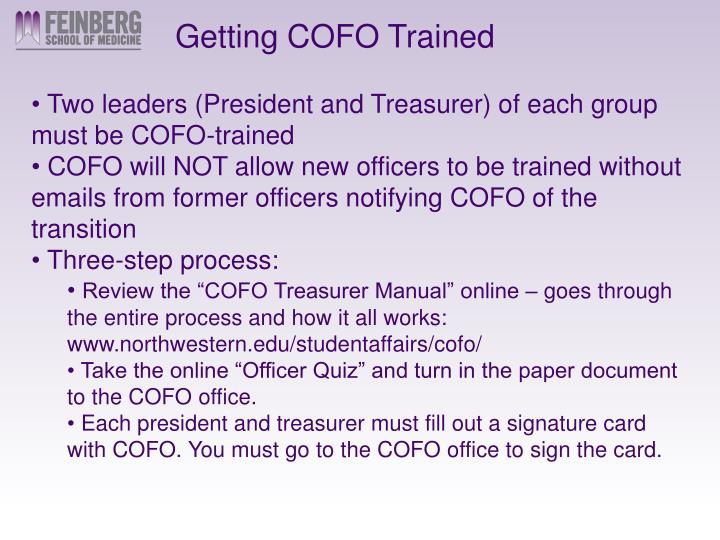 Getting COFO Trained