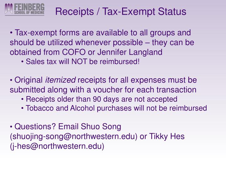 Receipts / Tax-Exempt Status